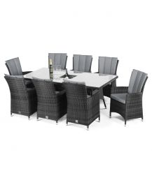 LA 8 Seat Rectangular Dining Set with Ice Bucket in Grey