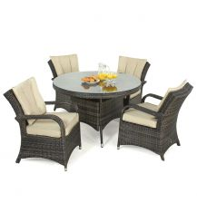 Texas 4 Seat Round Dining Set in Brown
