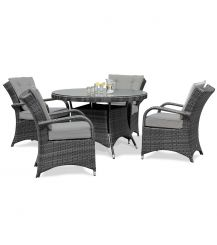 Texas 4 Seat Round Dining Set in Grey