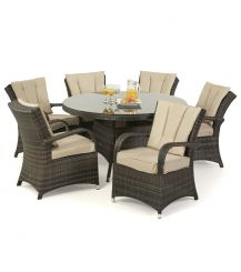 Texas 6 Seat Round Dining Set in Brown