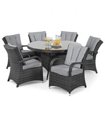 Texas 6 Seat Round Dining Set in Grey