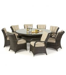 Texas 8 Seat Round Dining Set in Brown