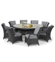 Texas 8 Seat Round Dining Set in Grey