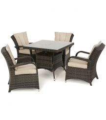 Texas 4 Seat Square Dining Set in Brown