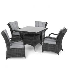 Texas 4 Seat Square Dining Set in Grey