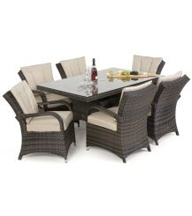 Texas 6 Seat Rectangular Dining Set in Brown
