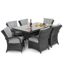 Texas 6 Seat Rectangular Dining Set in Grey