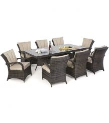 Texas 8 Seat Rectangular Dining Set in Brown