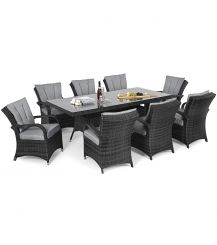 Texas 8 Seat Rectangular Dining Set in Grey