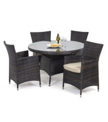 Miami 4 Seat Round Dining Set in Brown