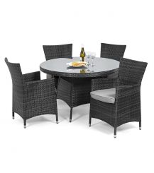 Miami 4 Seat Round Dining Set in Grey
