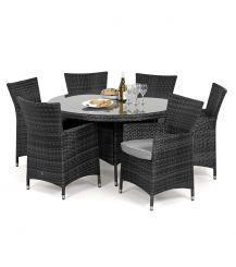 Miami 6 Seat Round Dining Set in Grey