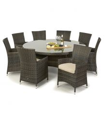 Miami 8 Seat Round Dining Set in Brown