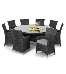 Miami 8 Seat Round Dining Set in Grey