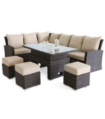 Kingston Corner Sofa Dining Set with Rising Table in Brown