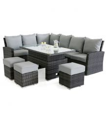Kingston Corner Sofa Dining Set with Rising Table in Grey
