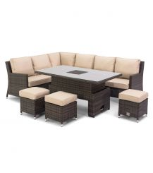 Venice Corner Sofa Dining Set with Ice Bucket and Rising Table in Brown