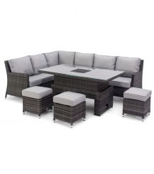Venice Corner Sofa Dining Set with Ice Bucket and Rising Table in Grey