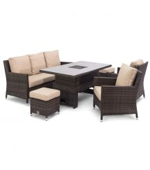 Venice Sofa Dining Set with Ice Bucket and Rising Table in Brown