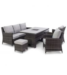 Venice Sofa Dining Set with Ice Bucket and Rising Table in Grey