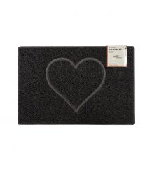 Heart Medium Embossed Doormat in Black