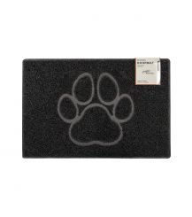 Paw Medium Embossed Doormat in Black