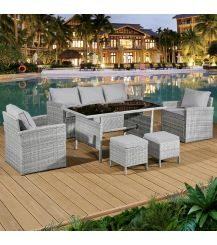 Fiji Rattan 7 Seat Lounge Dining Set in Dove Grey