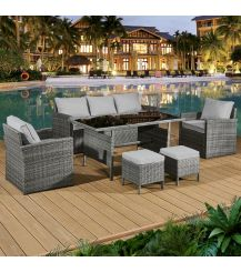 Fiji Rattan 7 Seat Lounge Dining Set in Pewter Grey