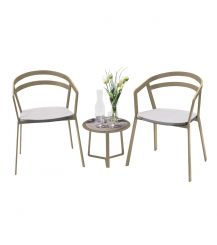 La Seine Aluminium & Textilene 2 Seater Tea for Two Set in Light Taupe with White Sling & Apollo Table