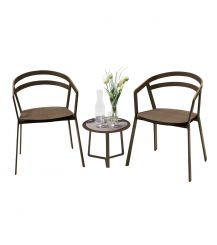 La Seine Aluminium & Textilene 2 Seater Tea for Two Set in Coffee with Coffee Sling & Apollo Table