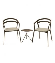 La Seine Aluminium & Textilene 2 Seater Tea for Two Set in Coffee with Khaki Sling & Explorer Table