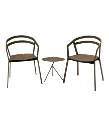 La Seine Aluminium & Textilene 2 Seater Tea for Two Set in Coffee with Coffee Sling & Explorer Table