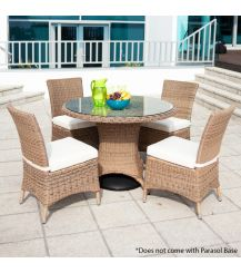 Barcelona Rattan 4 Seater Dining Set in 4 Seasons with Creamy White Cushions