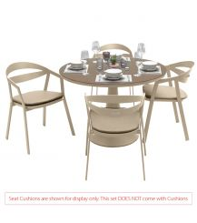 La Vida Aluminium 4 Seater Dining Set in Light Taupe with Matte Cappuccino Glass (No Cushions)