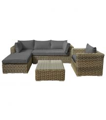 Dalwood Rattan 4 Seat Chaise Lounge Set in Champagne with Grey Cushions