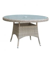Eden Rattan 6 Seater Dining Table in Chic Walnut