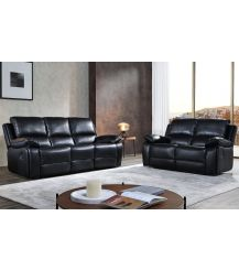Holden Leathaire 5 Seat Recliner Sofa Set in Black