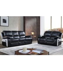 Holden Leathaire 5 Seat Recliner Sofa Set in Black & Grey