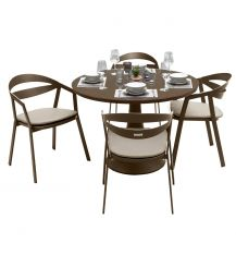 La Vida Aluminium 4 Seater Dining Set in Coffee with Khaki Cushions & Matte Coffee Glass