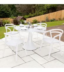 La Seine Aluminium & Textilene 4 Seater Dining Set in White with White Sling & Matte White Glass