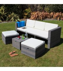 Mayson Rattan 5 Seater Lounge Set in Walnut Natural