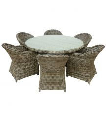 Musbury Rattan 6 Seat Dining Set in Champagne with Grey Cushions