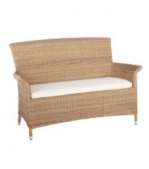 Panama Rattan 2 Seater Arm Sofa in 4 Seasons with Creamy White Cushions