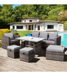 Malta Rattan 7 Seater Sofa Dining Lounge Set in Grey