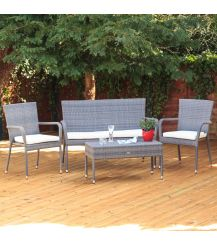 Winchester Rattan 4 Seater Lounge Set in Walnut Natural